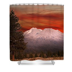 Mt Shasta Fire In The Sky Shower Curtain
