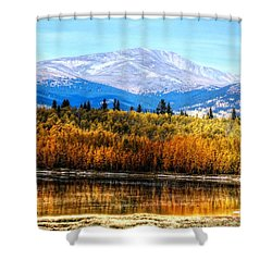 Mt. Silverheels With Aspens Shower Curtain by Lanita Williams