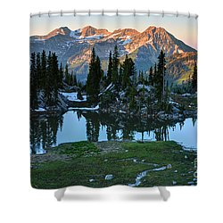 Mt. Timpanogos At Sunrise From Silver Glance Lake Shower Curtain