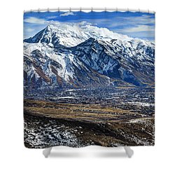 Mt. Timpanogos In Winter From Utah Valley Shower Curtain