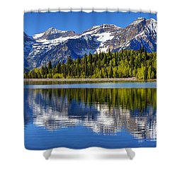 Mt. Timpanogos Reflected In Silver Flat Reservoir - Utah Shower Curtain