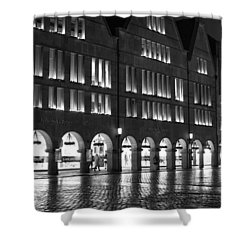 Cobblestone Night Walk In The Town Shower Curtain by Miguel Winterpacht