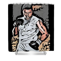 Muhammad Ali Shower Curtain by Tanysha Bennett-Wilson