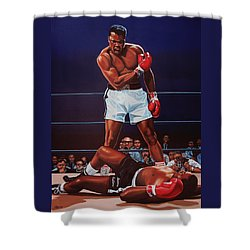 Muhammad Ali Versus Sonny Liston Shower Curtain by Paul Meijering