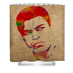 Muhammad Ali Watercolor Portrait On Worn Distressed Canvas Shower Curtain by Design Turnpike
