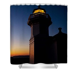 Shower Curtain featuring the photograph Mukilteo Light House Sunset by Sonya Lang