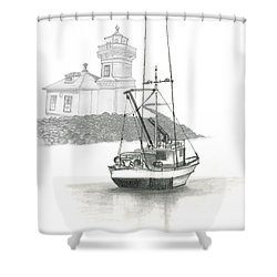 Shower Curtain featuring the drawing Mukilteo Lighthouse by Terry Frederick