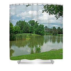 Muller Chapel Pond Ithaca College Shower Curtain