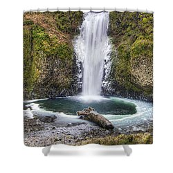 Multhomah Falls In Winter Shower Curtain by David Gn