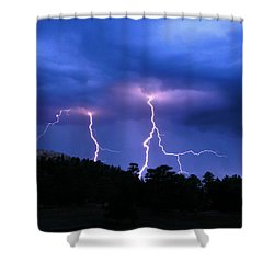 Multi Arc Lightning Strike Shower Curtain by Craig T Burgwardt