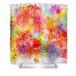 Multi Colored Ditgital Abstract 4 Shower Curtain by Debbie Portwood