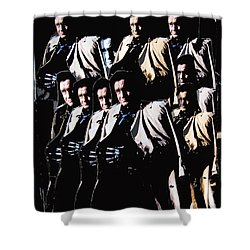 Shower Curtain featuring the photograph Multiple Johnny Cash In Trench Coat 1 by David Lee Guss