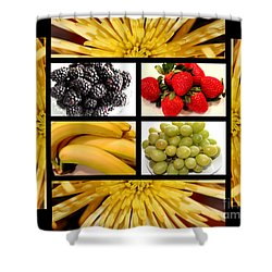 Mums Fruit Collage Shower Curtain by Barbara Griffin