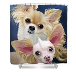 Munchie And Tuffy Shower Curtain by Catia Cho