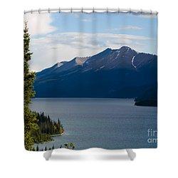Muncho Lake Shower Curtain by Tara Lynn