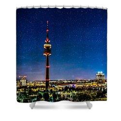 Munich City Nights - Olympiapark Shower Curtain by Hannes Cmarits