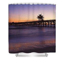 Municipal Pier At Sunset San Clemente Shower Curtain by Richard Cummins