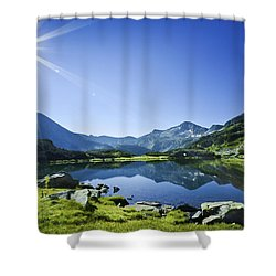 Muratov Lake Against Blue Sky Shower Curtain by Evgeny Kuklev