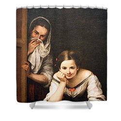 Murillo's Two Women At A Window Shower Curtain by Cora Wandel