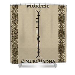 Shower Curtain featuring the digital art Murphy Written In Ogham by Ireland Calling