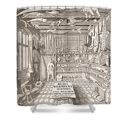 Museum Of Ole Worm, Leiden, 1655 Engraving Shower Curtain