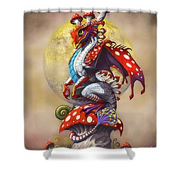 Shower Curtain featuring the digital art Mushroom Dragon by Stanley Morrison