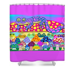 Mushroom Meadow Frogs Shower Curtain