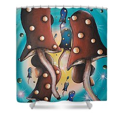 Mushroom Migration Shower Curtain