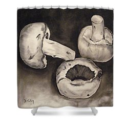 Shower Curtain featuring the painting Mushrooms by Donna Tuten