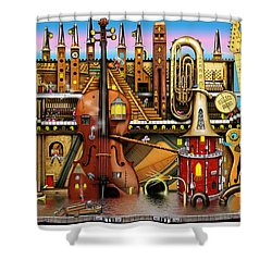 Music Castle Shower Curtain by Colin Thompson