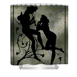 Shower Curtain featuring the digital art Music Daisies And Silhouette by Sandra Foster