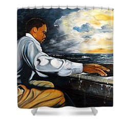 Shower Curtain featuring the painting Music by Emery Franklin