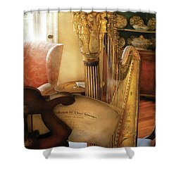 Music - Harp - The Harp Shower Curtain by Mike Savad
