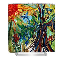 Music In Bird Of Tree Shower Curtain by Genevieve Esson