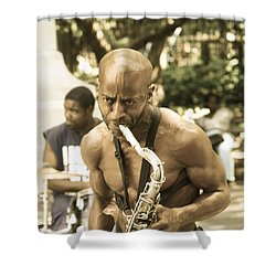 Music In The Park Shower Curtain by Menachem Ganon