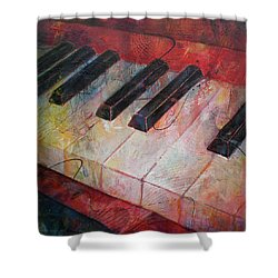 Music Is The Key - Painting Of A Keyboard Shower Curtain by Susanne Clark