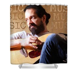 Music Man Shower Curtain by Sharon Dominick