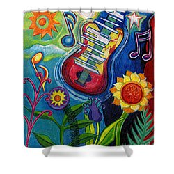 Music On Flowers Shower Curtain by Genevieve Esson