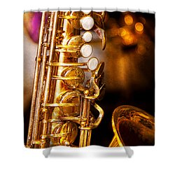 Music - Sax - Sweet Jazz  Shower Curtain by Mike Savad