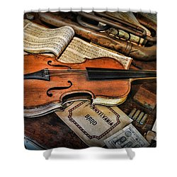 Music - The Violin Shower Curtain by Paul Ward