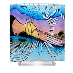 Musica Shower Curtain by Angel Ortiz
