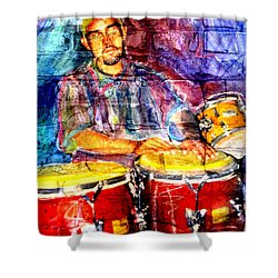 Musician Congas And Brick Shower Curtain