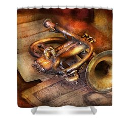 Musician - Horn - Toot My Horn Shower Curtain by Mike Savad