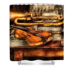 Musician - Horn - Two Horns And A Violin Shower Curtain by Mike Savad