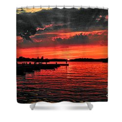 Muskoka Sunset Shower Curtain by Les Palenik