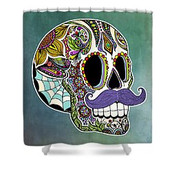 Mustache Sugar Skull Shower Curtain by Tammy Wetzel