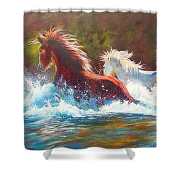 Shower Curtain featuring the painting Mustang Splash by Karen Kennedy Chatham