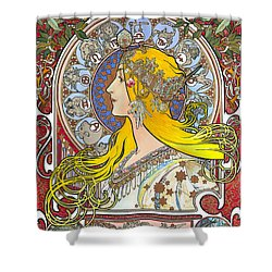 My Acrylic Painting As An Interpretation Of The Famous Artwork Of Alphonse Mucha - Zodiac - Shower Curtain