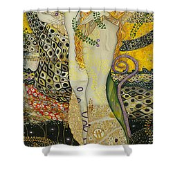 My Acrylic Painting As An Interpretation Of The Famous Artwork Of Gustav Klimt - Water Serpents I Shower Curtain by Elena Yakubovich