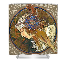 My Acrylic Painting As Interpretation Of Alphonse Mucha- Byzantine Head. The Blonde. Diagonal Frame. Shower Curtain by Elena Yakubovich
